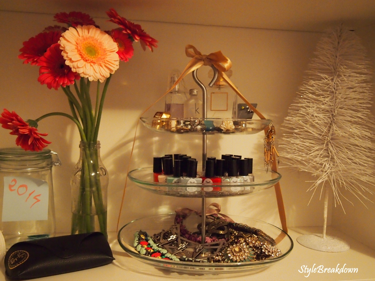 Interior decor ideas: cake stand repurposed( jewelry, nail polish and perfume stand)